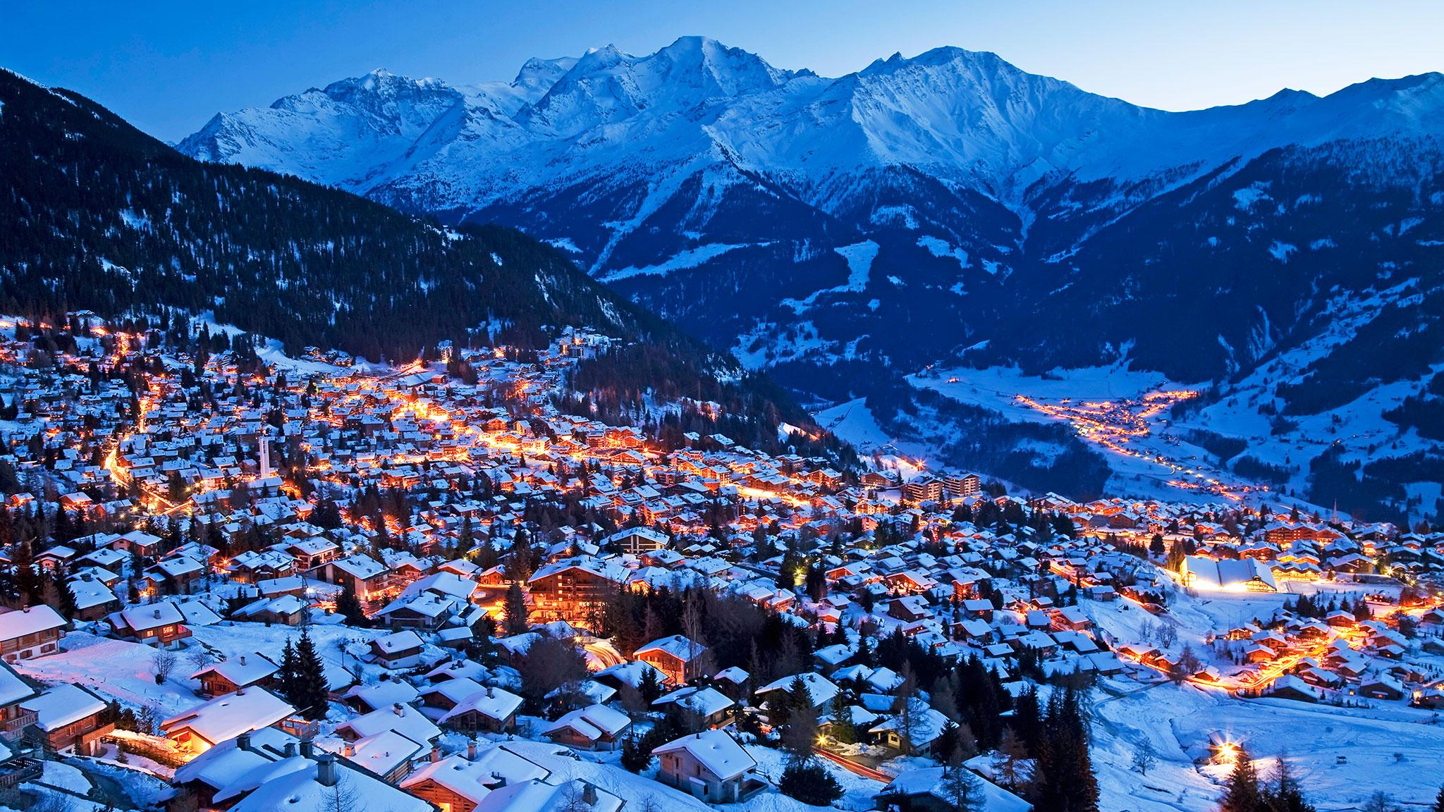 Verbier, Švajcarska, večernji pejzaž | Lucky Bansko SPA & Relax